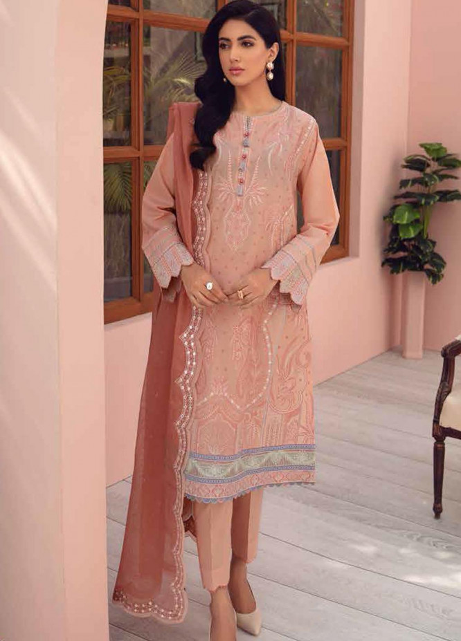 Jazmin Embroidered Lawn Suits Unstitched 3 Piece JZ21IL 07-CORAL DREAM - Summer Collection