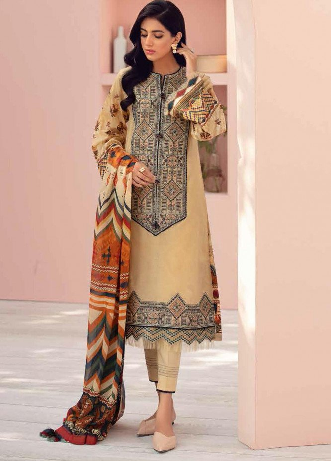 Jazmin Embroidered Lawn Suits Unstitched 3 Piece JZ21IL 12-SAND CASTLE - Summer Collection