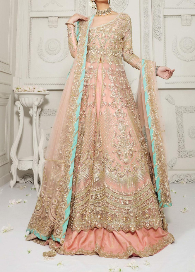 Anaya By Kiran Chaudhry Embroidered Tulle Net Stitched 3 Piece Suit AKC20B 01 Elaine - Bridal Wear Collection