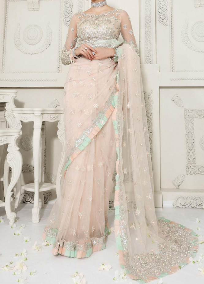 Anaya By Kiran Chaudhry Embroidered Tulle Net Stitched Saree AKC20B 04 Seraphine - Bridal Wear Collection