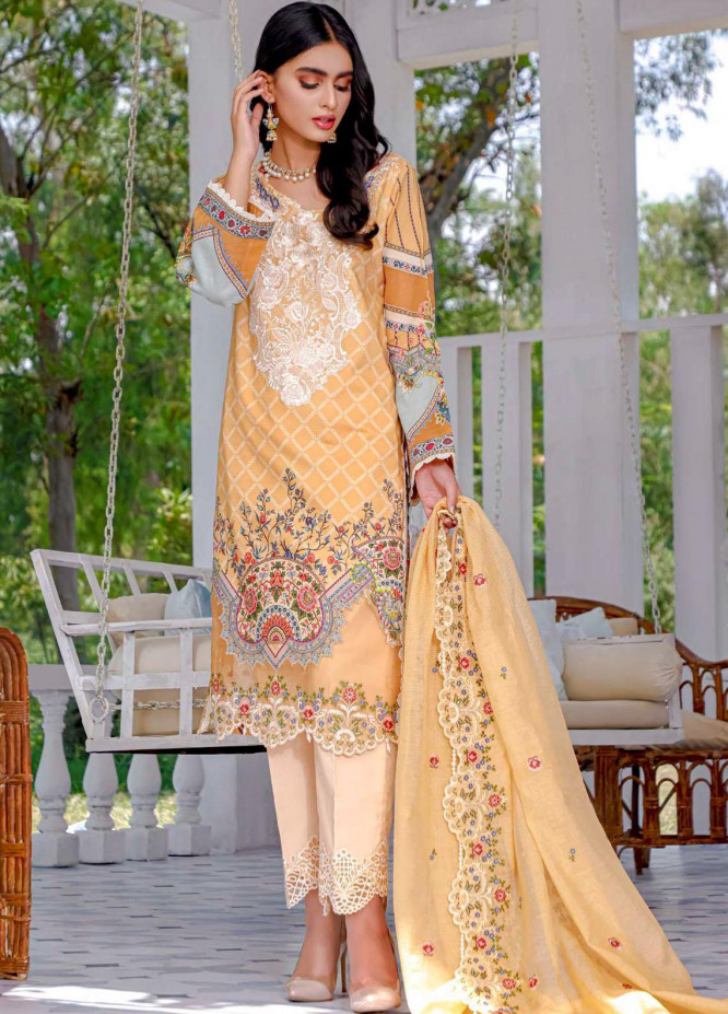 Kahf Premium Embroidered Lawn Suits Unstitched 3 Piece KHF21F 04 - Summer Collection