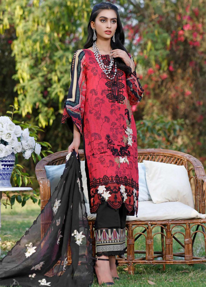 Kahf Premium Embroidered Lawn Suits Unstitched 3 Piece KHF21F 06 - Summer Collection