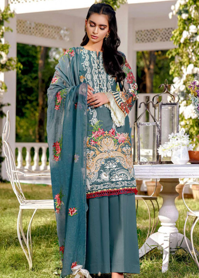 Kahf Premium Embroidered Lawn Suits Unstitched 3 Piece KHF21F 10 - Summer Collection