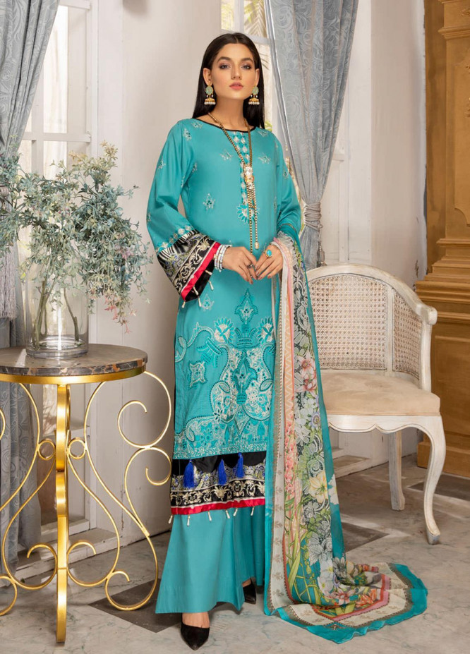 Kalyan by ZS Textiles Embroidered Chikankari Suits Unstitched 3 Piece ZS21KC-5 D-02 - Summer Collection