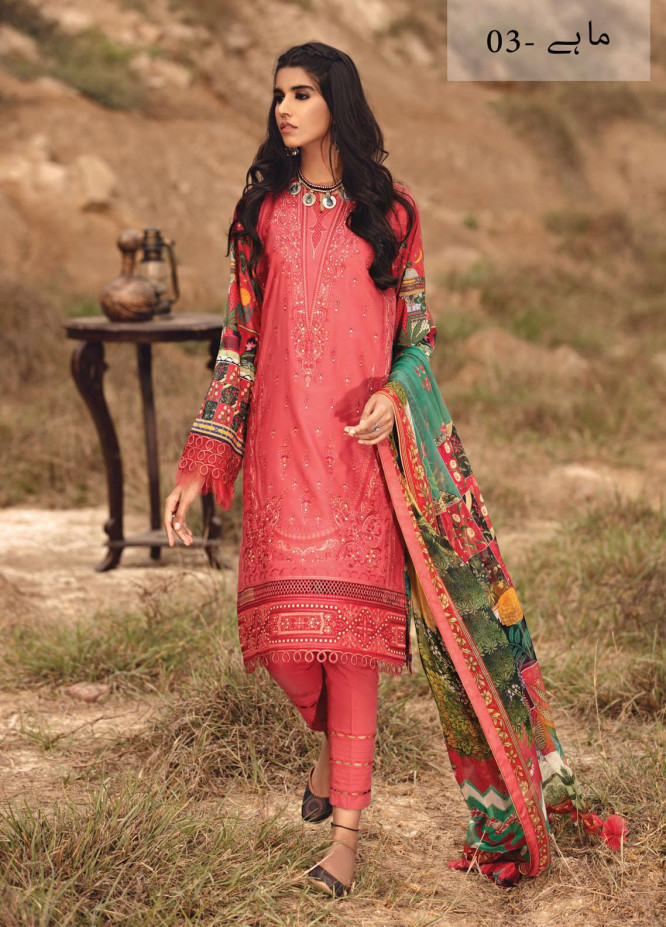 Karvaan by Jazmin Embroidered Lawn Suits Unstitched 3 Piece JZ21K 03 Mahay - Luxury Collection