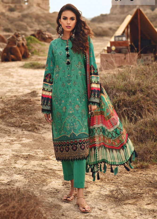 Karvaan by Jazmin Embroidered Lawn Suits Unstitched 3 Piece JZ21K 07 Sahil - Luxury Collection
