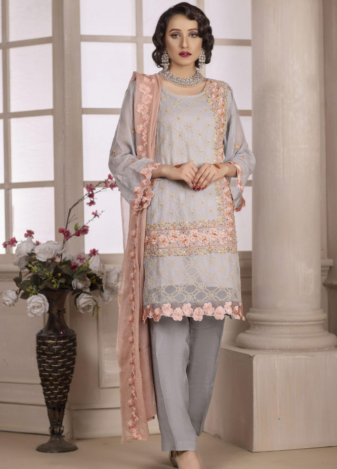 Ketifa Embroidered Chiffon Suits Unstitched 3 Piece KT21HA-0202 Gray Comfort - Luxury Collection