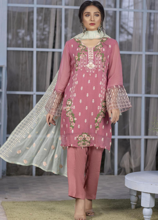 Ketifa Embroidered Chiffon Suits Unstitched 3 Piece KT21HA-0204 Emerald Ruby - Luxury Collection