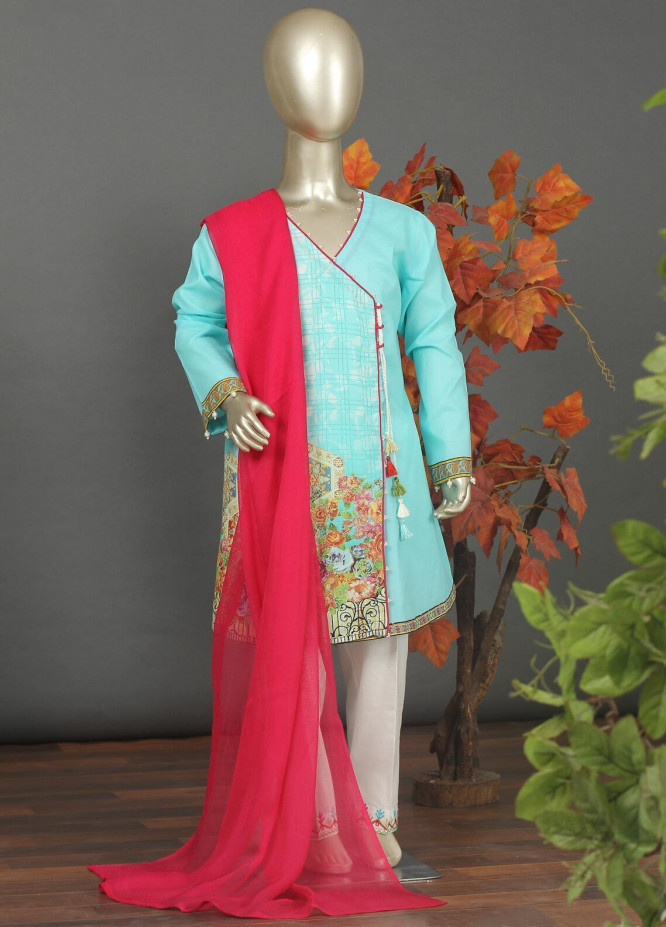 Sanaulla Exclusive Range Cotton Embroidered 3 Piece Suits for Girls -  5466G Sky Blue