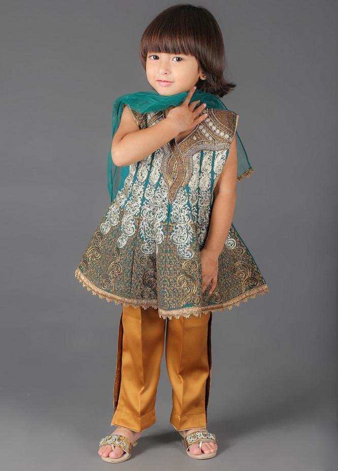 Sanaulla Exclusive Range Cotton Embroidered 3 Piece Suits for Girls -  K-260 Ferozi