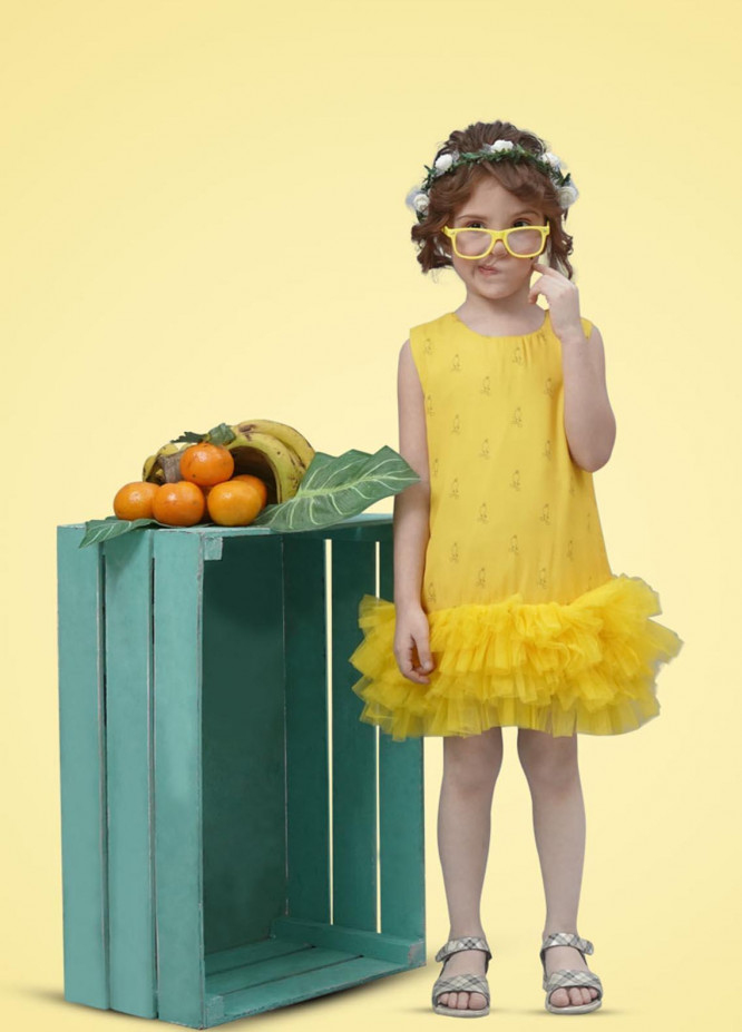Kids Polo Crepe Casual Frock for Girls -  GWSK-20207