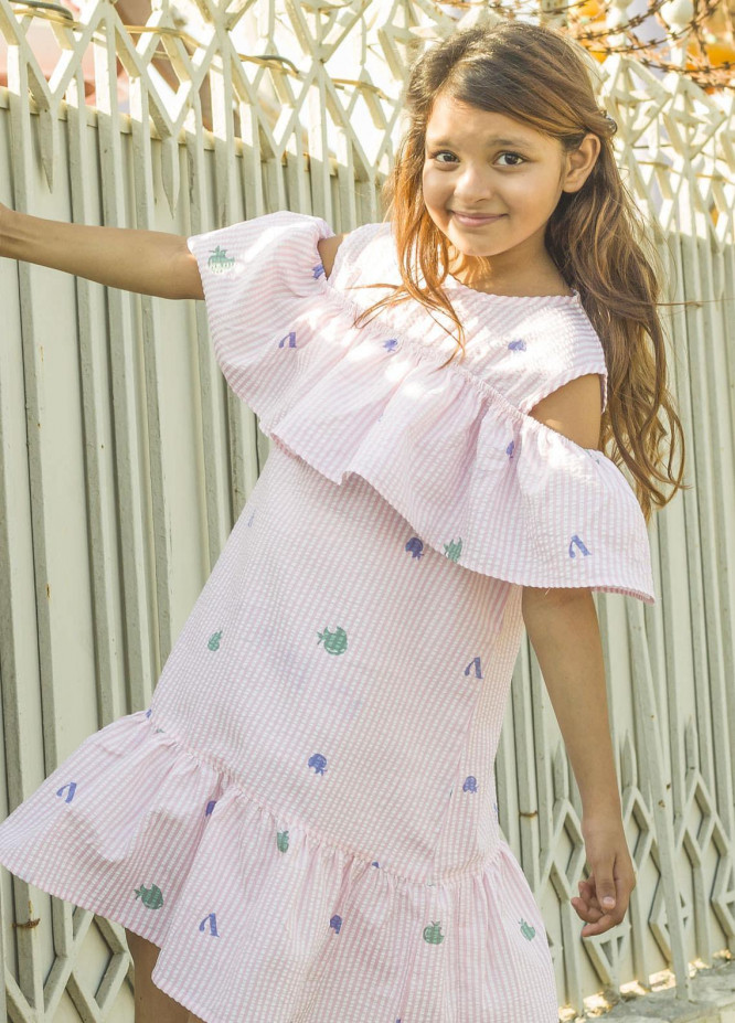 Kids Polo Cotton Casual Frocks for Girls -  KP20GW GSFS 20204 Pink Off Shoulder Frock