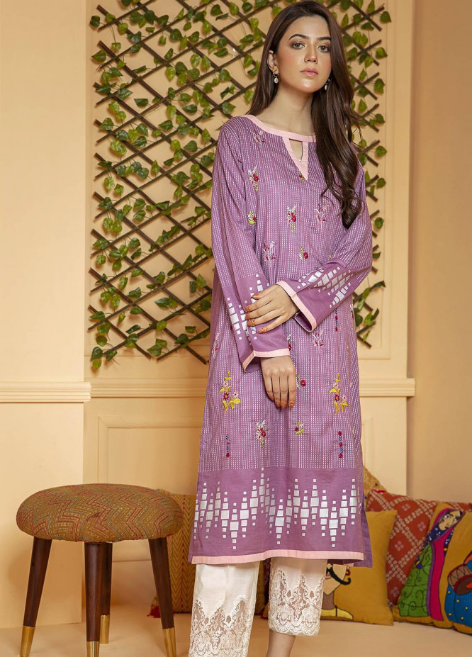 Kross Kulture Embroidered Lawn Stitched Kurtis KB-20486 L-Purple