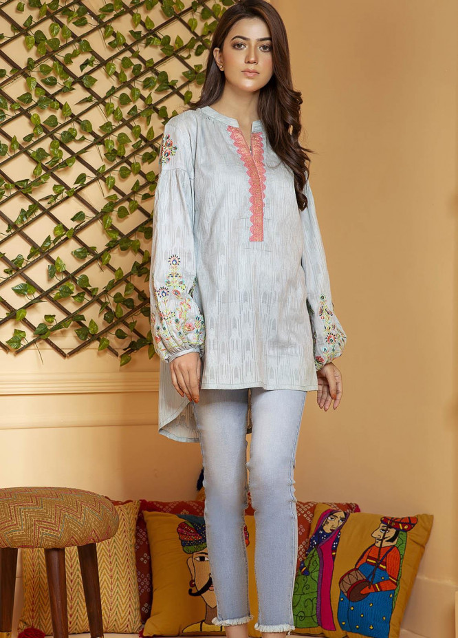 Kross Kulture Embroidered Cotton Stitched Kurtis KB-21019 Aqua