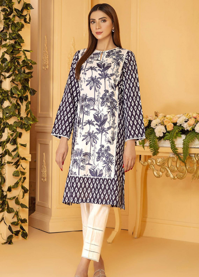 Kross Kulture Embroidered Lawn Stitched Kurtis KB-21045 Navy