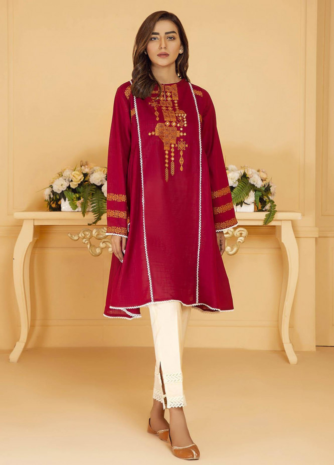 Kross Kulture Embroidered Lawn Stitched Kurtis KB-21054 Maroon