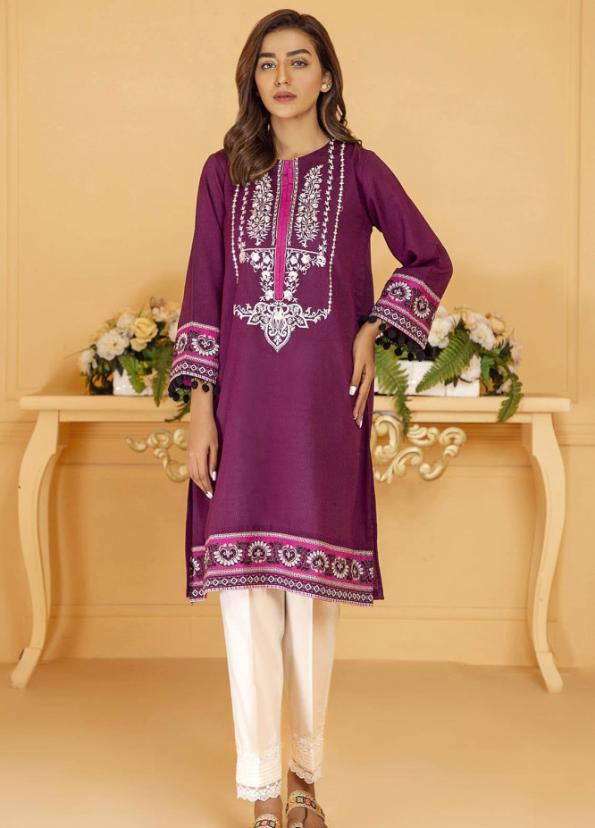 Kross Kulture Embroidered Karandi Stitched Kurtis KE-21044 Purple