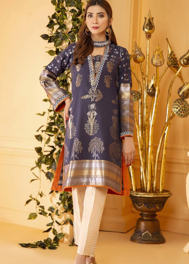 Kross Kulture Embroidered Jacquard Stitched Kurtis KE-21106 Navy