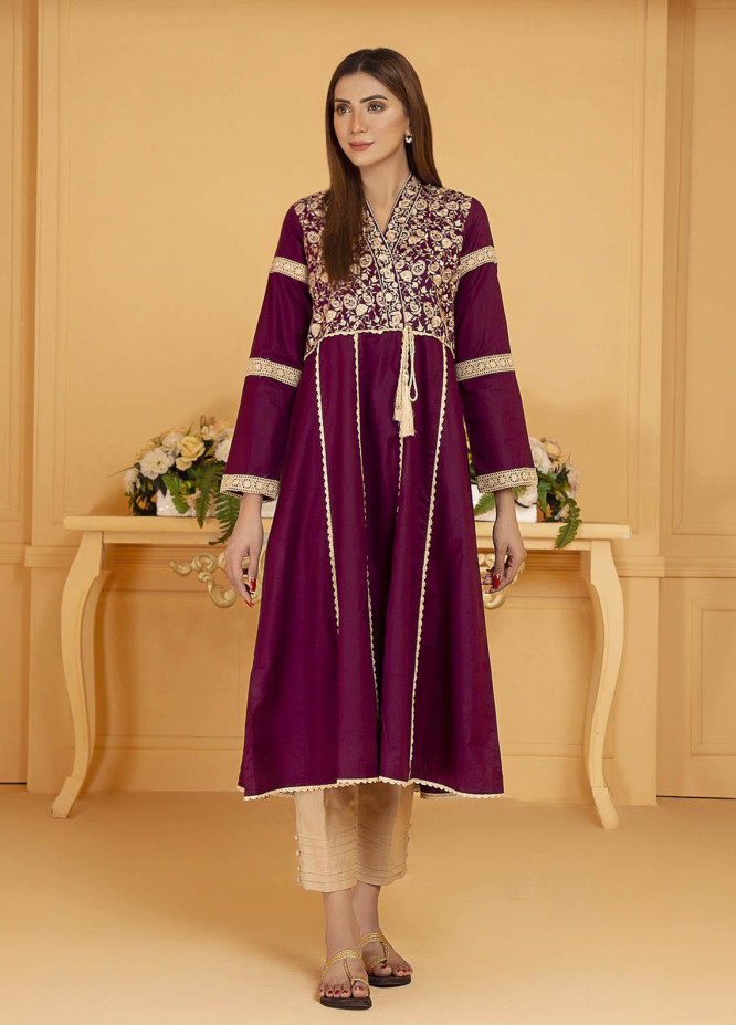 Kross Kulture Embroidered Cotton Stitched Kurtis KE-21127 Plum