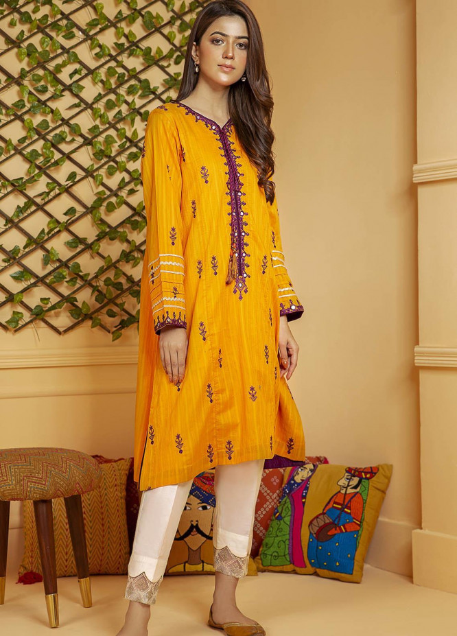 Kross Kulture Embroidered Cotton Stitched Kurtis KE-21142 Orange