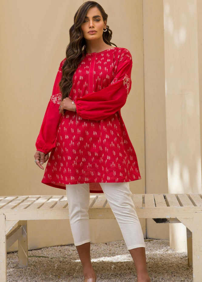 Kross Kulture Casual Pret Embroidered Lawn Shirt KB-21059 Red