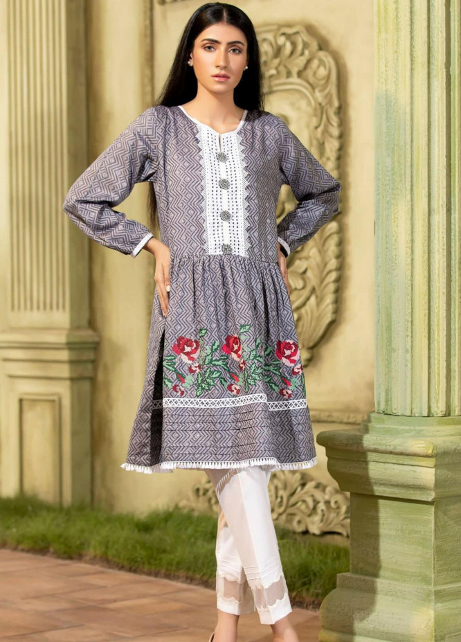Kross Kulture Chikankari Cotton Stitched Frocks KB-20392 Blue
