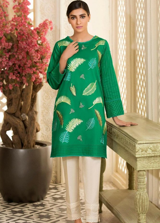 Kross Kulture Embroidered Cambric Stitched Kurtis KB-20742 Green