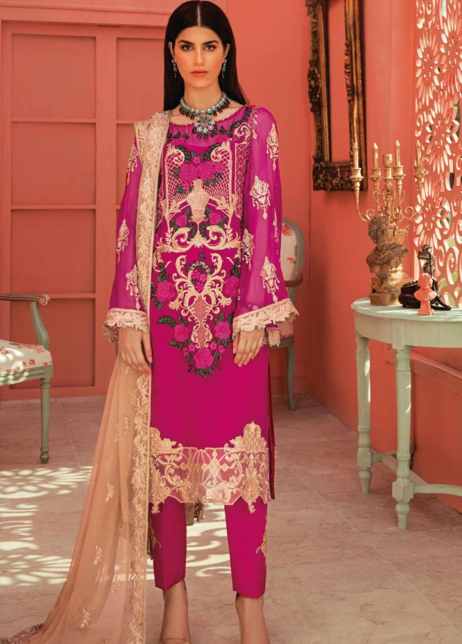 Serene Premium Embroidered Chiffon Unstitched 3 Piece Suit IMP20LR 203 Flamingo Bloom - Luxury Collection