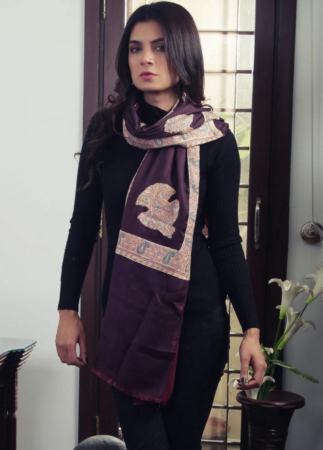 Sanaulla Exclusive Range Embroidered Pashmina Stole 19-MIR-60 Maroon