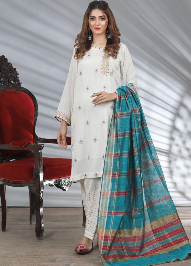 Lakhany Embroidered Raw Silk Stitched 3 Piece Suit LSM20LP LSM-1960