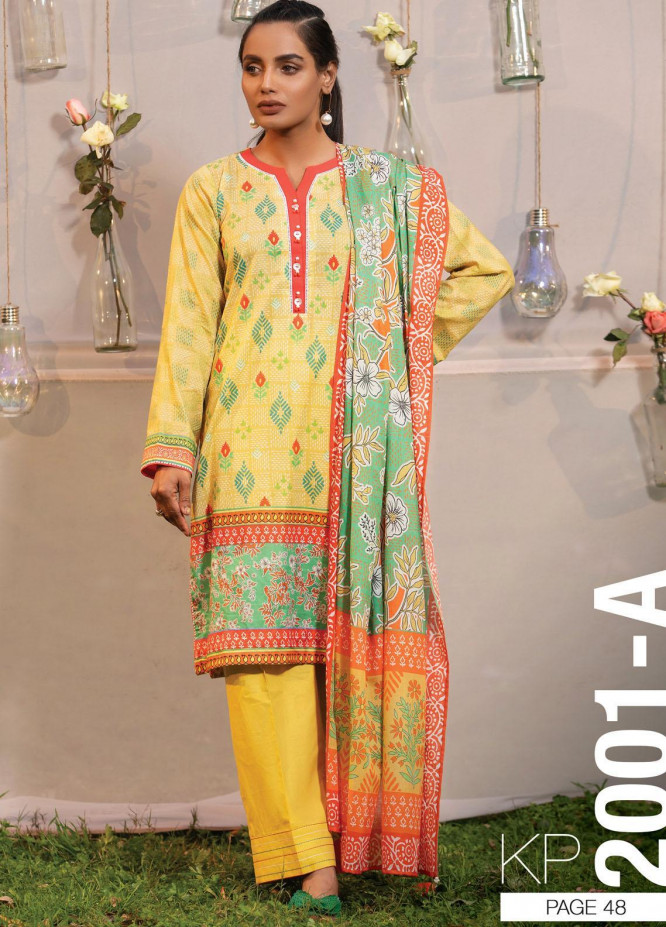 Komal By Lakhany Printed Lawn Unstitched 3 Piece Suit LSM21K 2001A - Summer Collection