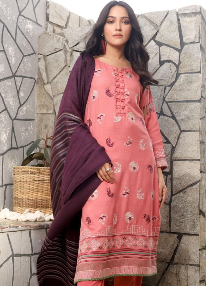 Lakhany Embroidered Peach Unstitched 3 Piece Suit LSM20WE 2042 - Winter Collection