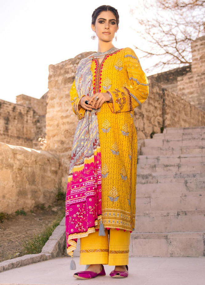 Lakhany Embroidered Lawn Suits Unstitched 3 Piece LSM21S BP-2040 - Summer Collection