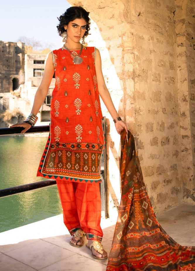 Lakhany Embroidered Lawn Suits Unstitched 3 Piece LSM21S SG-2102 - Summer Collection