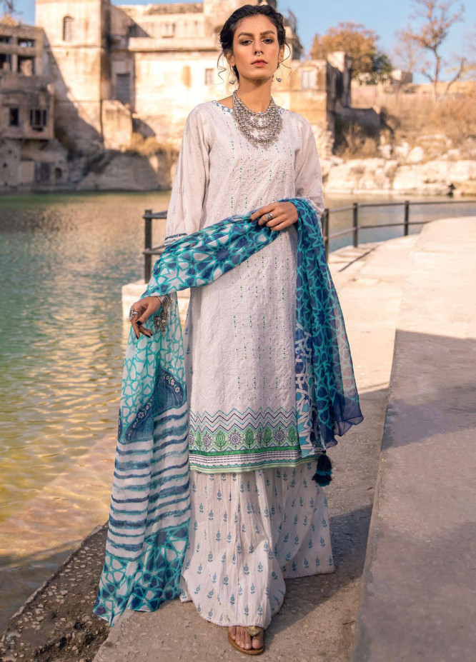 Lakhany Embroidered Lawn Suits Unstitched 3 Piece LSM21S SG-2106 - Summer Collection