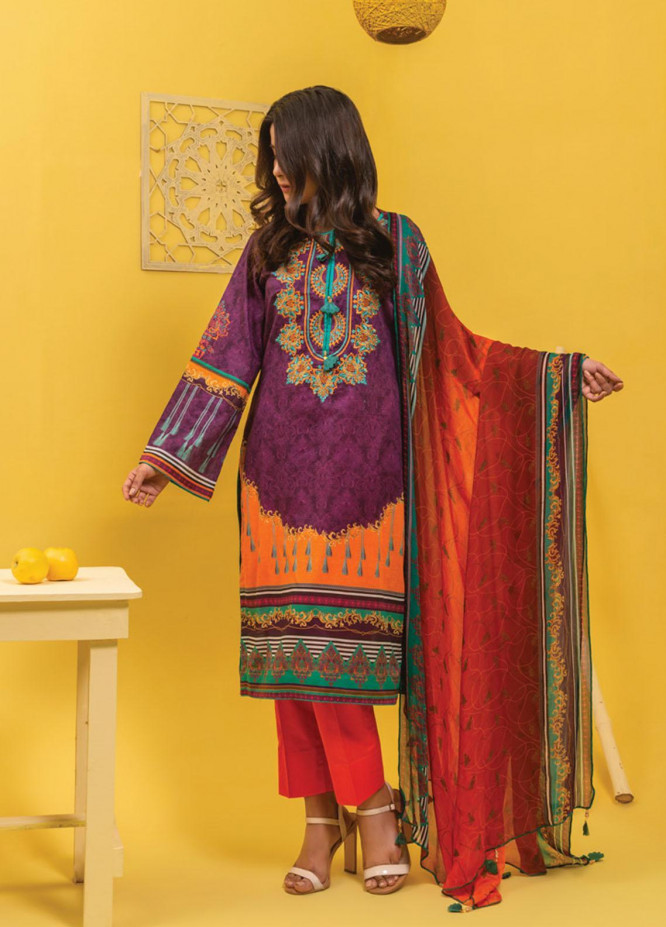 Lamha by Tarzz Embroidered Lawn Suits Unstitched 3 Piece TZ21L SS-3-02 - Spring / Summer Collection