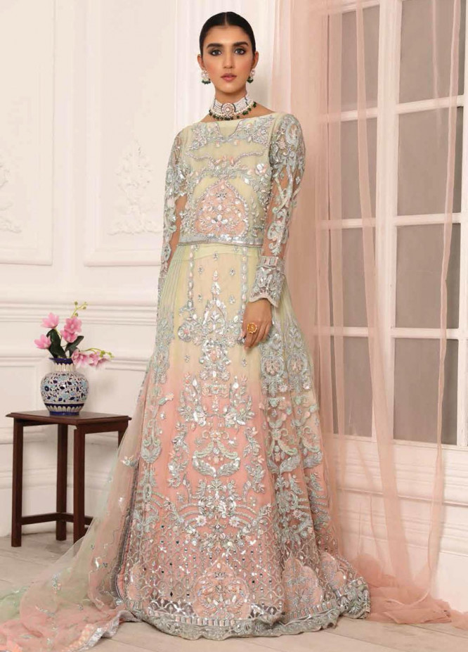 Lamour by Emaan Adeel Embroidered Chiffon Suits Unstitched 3 Piece EA21LC LR-06 - Luxury Collection