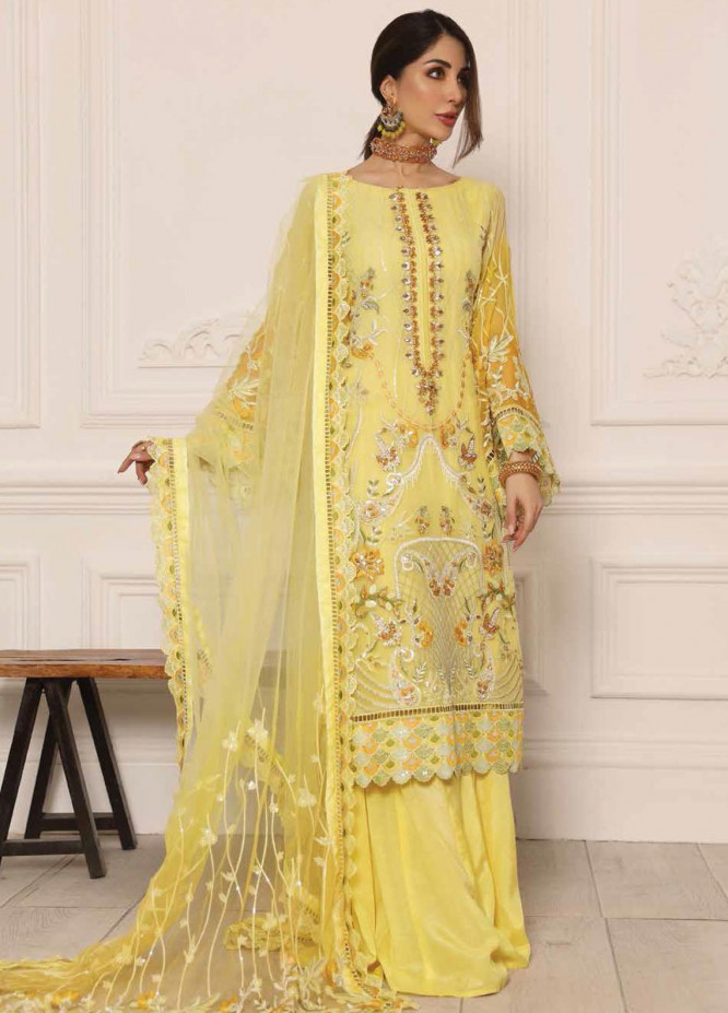 Lamour by Emaan Adeel Embroidered Chiffon Suits Unstitched 3 Piece EA21LC LR-07 - Luxury Collection
