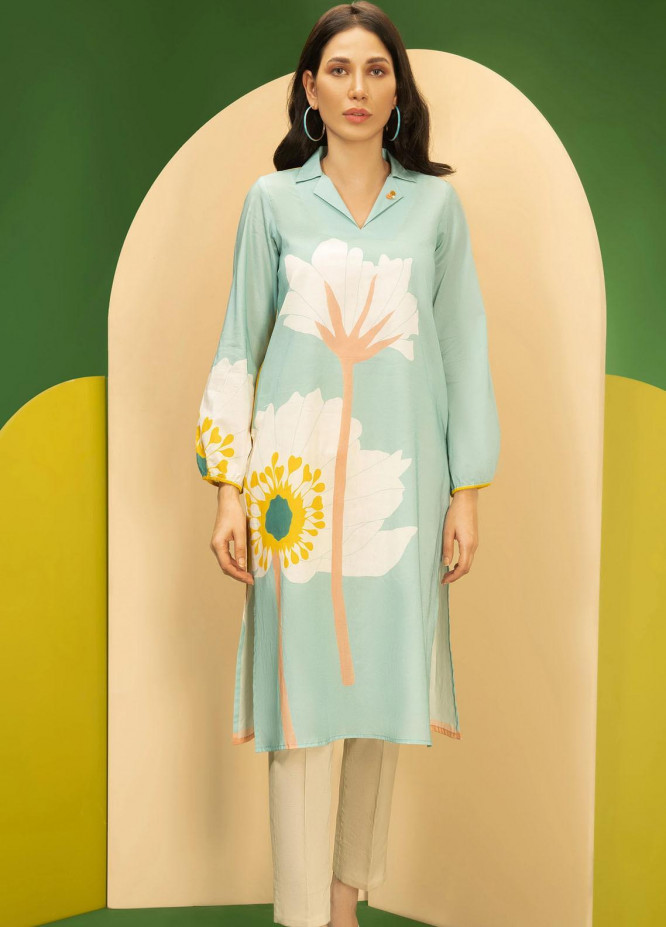 LimeLight Printed Cambric Unstitched Kurties LL21C U-1642 AQUA - Cambric Collection