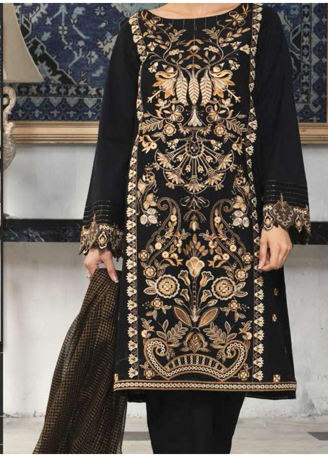 LimeLight Embroidered Lawn Suits Unstitched 3 Piece LL21E U0840 Black - Summer Collection
