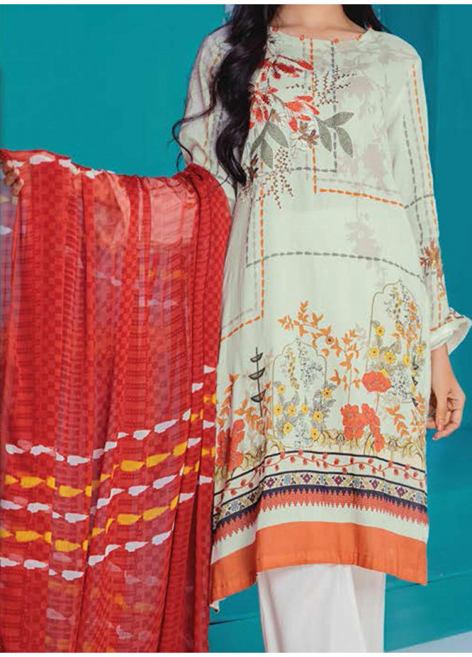 LimeLight Embroidered Lawn Suits Unstitched 2 Piece LL21E U1253 Off White - Summer Collection
