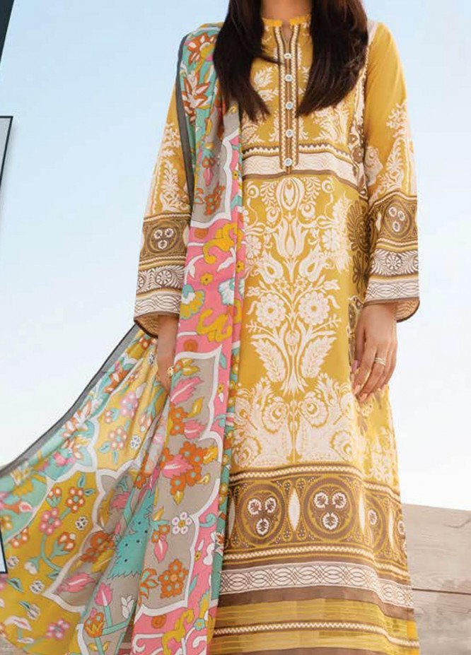 LimeLight Printed Lawn Suits Unstitched 2 Piece LL21S U-1031 YELLOW - Summer Collection