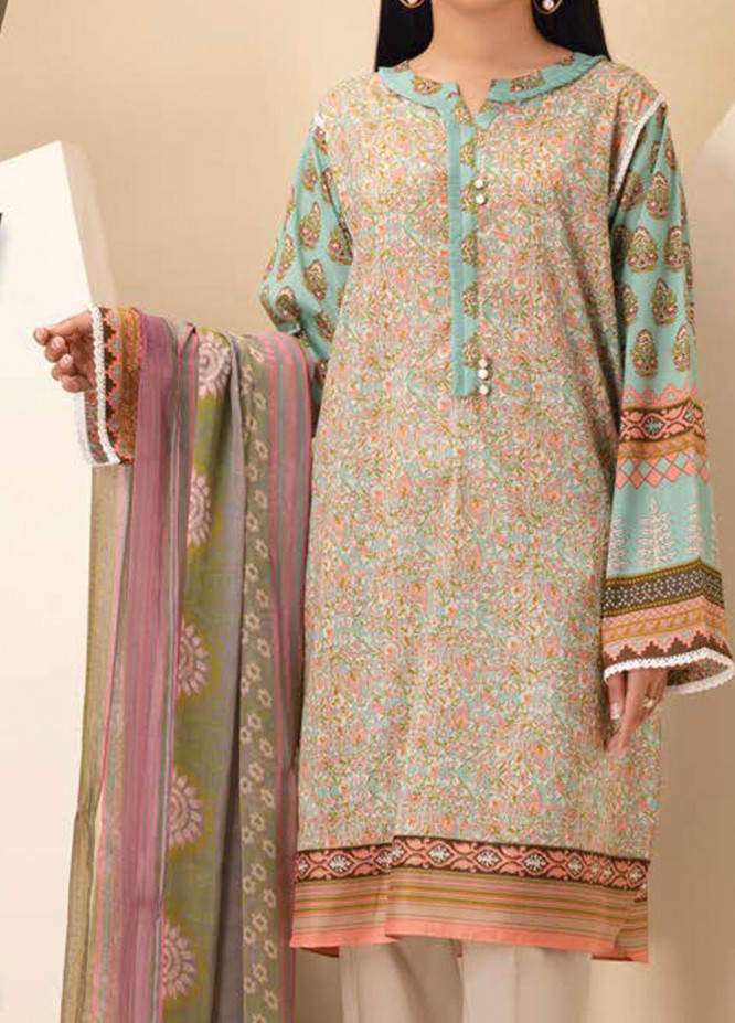 LimeLight Printed Lawn Suits Unstitched 2 Piece LL21S U-1077 AQUA - Summer Collection