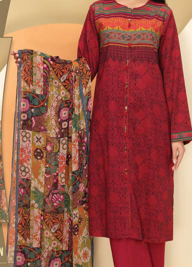 LimeLight Printed Lawn Suits Unstitched 3 Piece LL21S U-1103 MAROON - Summer Collection