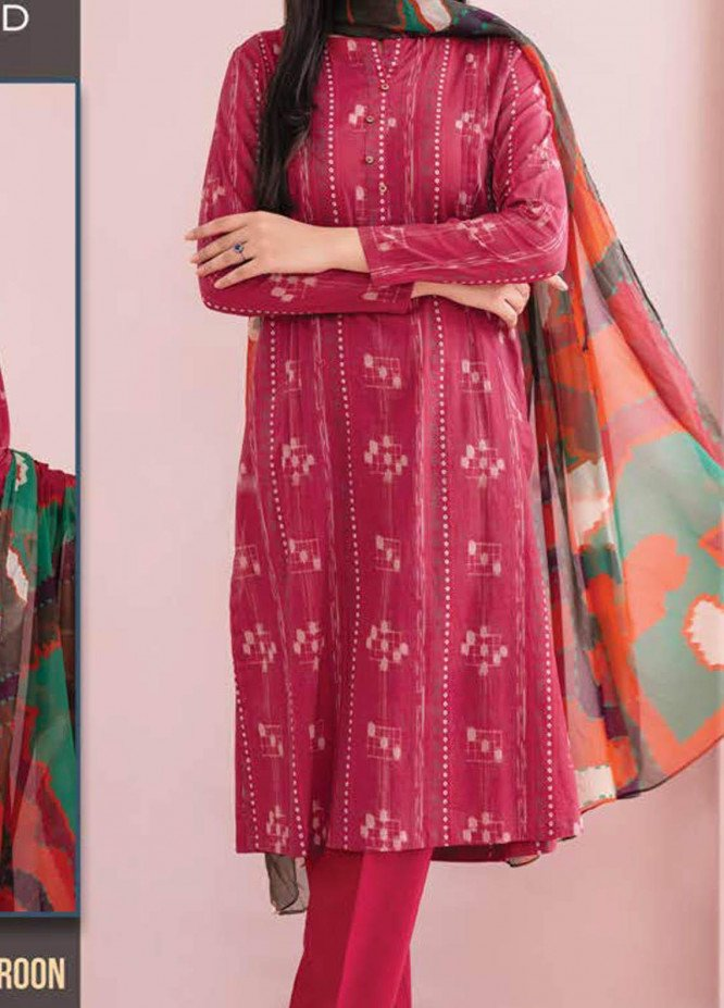 LimeLight Printed Lawn Suits Unstitched 3 Piece LL21S U-1107 MAROON - Summer Collection