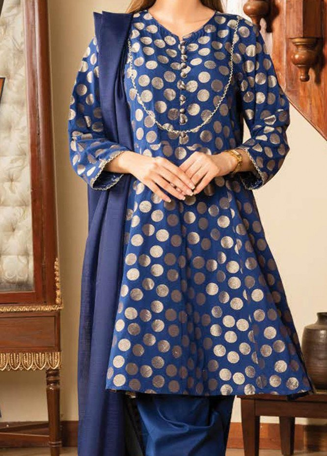 LimeLight Printed Jacquard Suits Unstitched 3 Piece LL21S U-1109 NAVY BLUE - Summer Collection