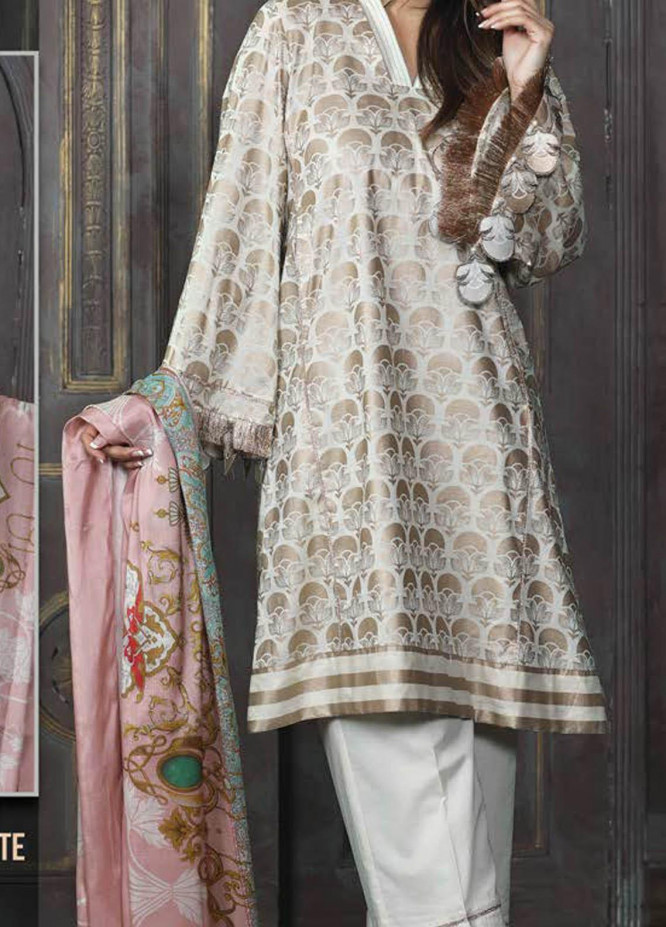 LimeLight Printed Lawn Suits Unstitched 2 Piece LL21S U-1137 OFF WHITE - Summer Collection