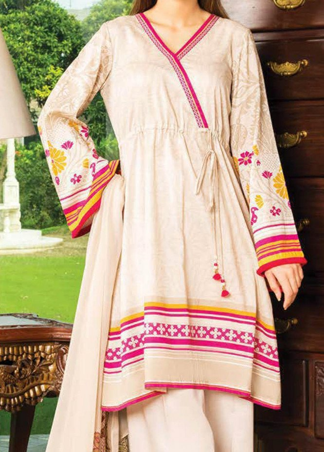LimeLight Printed Lawn Suits Unstitched 2 Piece LL21S U-1142 BEIGE - Summer Collection