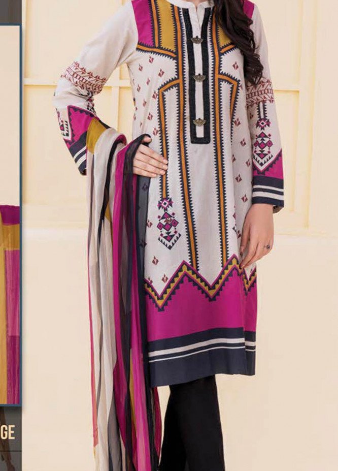 LimeLight Printed Lawn Suits Unstitched 2 Piece LL21S U-1180 BEIGE - Summer Collection
