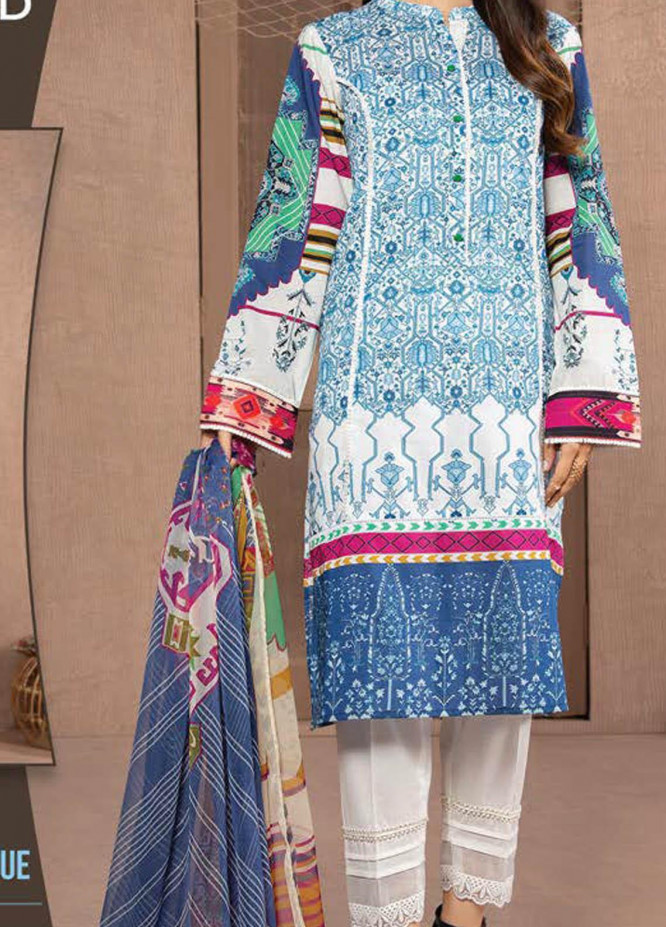 LimeLight Printed Lawn Suits Unstitched 2 Piece LL21S U-1183 BLUE - Summer Collection
